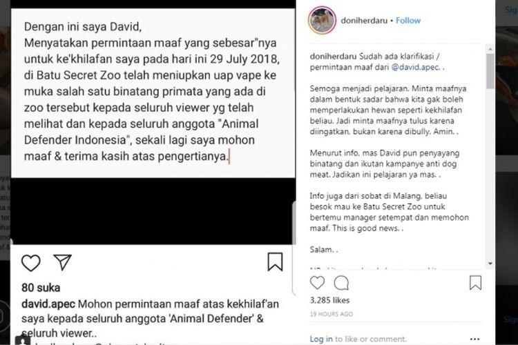 Permohonan maaf David, pelaku penyemprotan asap vape ke primata di Batu Secret Zoo, via akun Instagram @doniherdaru