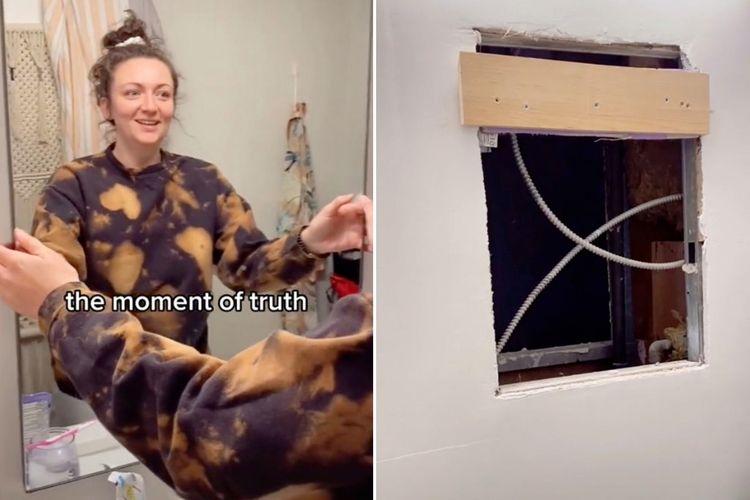 TikToker Samantha Hartsoe menemukan ruang rahasia yang tersembunyi di balik cermin kamar mandi apartemennya. [@samanthartsoe/TikTok Via New York Post]