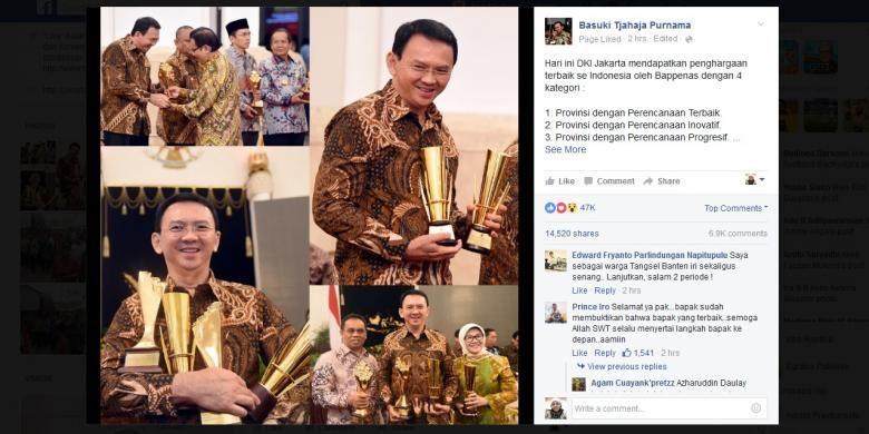 Gubernur DKI Jakarta Basuki Tjahaja Purnama menerima penghargaan untuk Pemprov DKI Jakarta yang diserahkan oleh Bappenas di Istana, Rabu (11/5/2016).