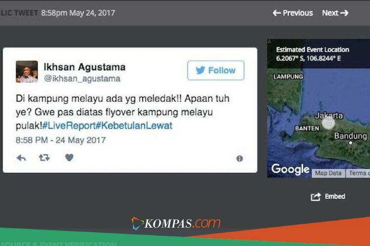 Twit pertama Ikhsan Agustama terkait bom Kampung Melayu pada Rabu (24/5/2017) pukul 20.58.