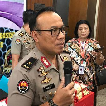Kepala Biro Penerangan Masyarakat (Karo Penmas) Divisi Humas Polri Brigjen (Pol) Dedi Prasetyo di Gedung Bareskrim Polri, Jakarta Selatan, Kamis (1/8/2019).