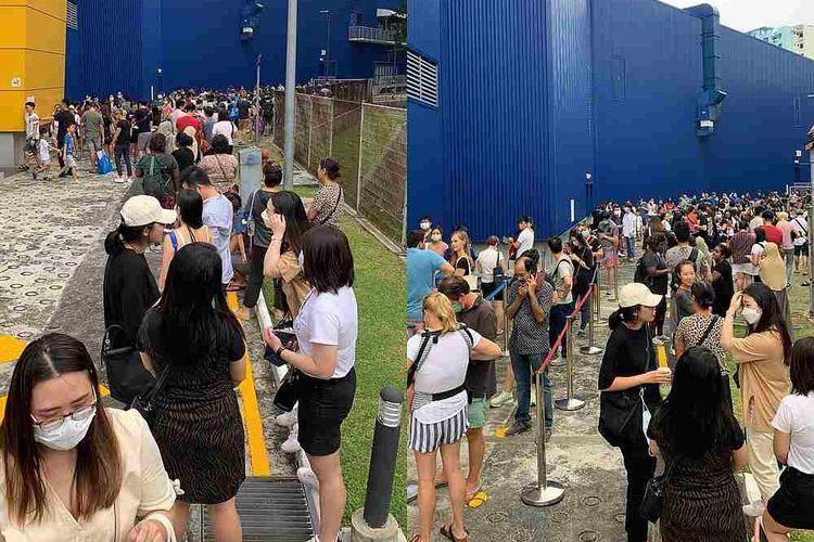 Warga Singapura menyerbu masuk gudang IKEA Alexandra.