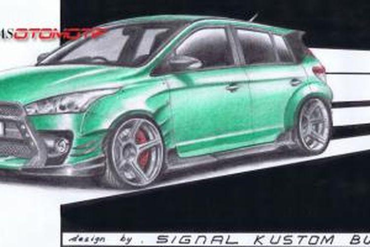 Sketsa modifikasi All-New Yaris rancangan Andre Mulyadi dari Signal Kustom Built