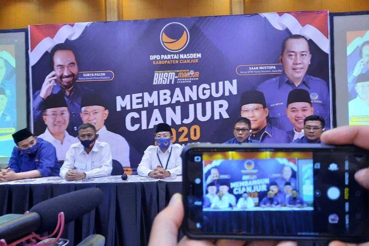 Partai Nasdem Cianjur siap mendukung dan memenangkan kandidat bakal calon bupati - wakil bupati Cianjur Herman Suherman-Tb Mulyana di Pilkada 2020
