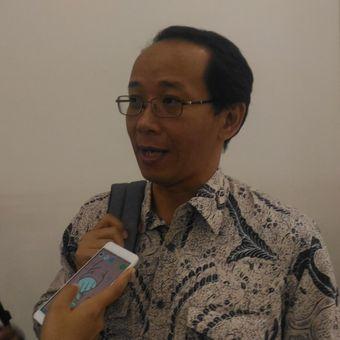 Direktur New Media Watch Agus Sudibyo dalam diskusi bertajuk Tabloid Indonesia Barokah: Karya Jurnalistik atau Kumpulan Opini? di Hotel Peninsula, Jakarta, Rabu (30/1/2019).