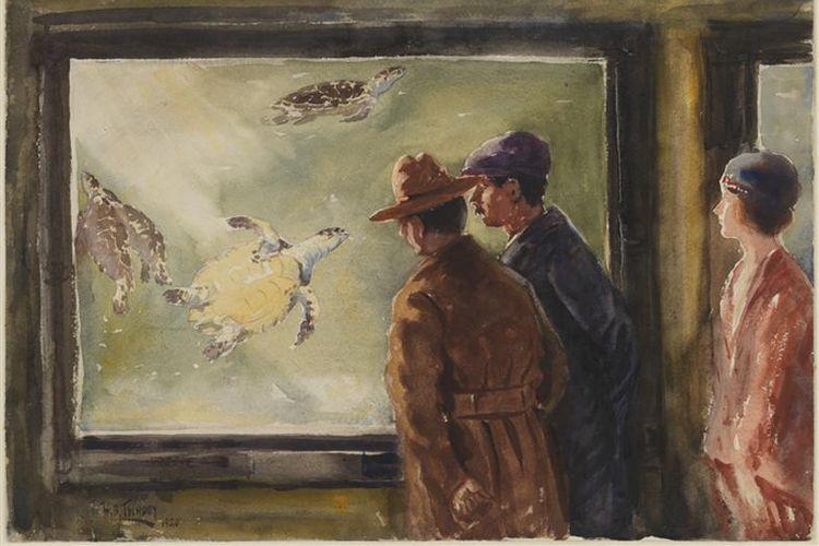Lukisan karya Herbert Bolivar Tschudy bertajuk The Turtle Tank, @nyaquarium, 1920. Salah satu karya seni di Museum of the City of New York, 47.141.3.