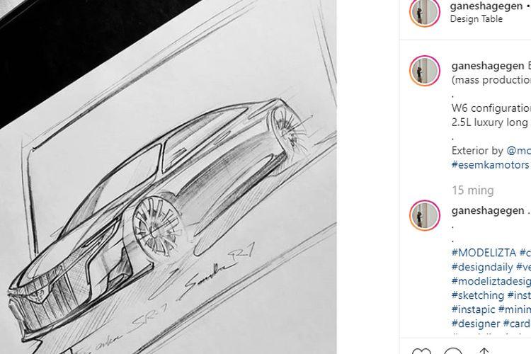 Sketsa desain calon mobil luxury Esemka