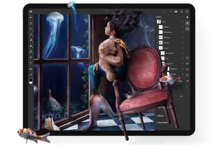 Ilustrasi Photoshop versi iPad.