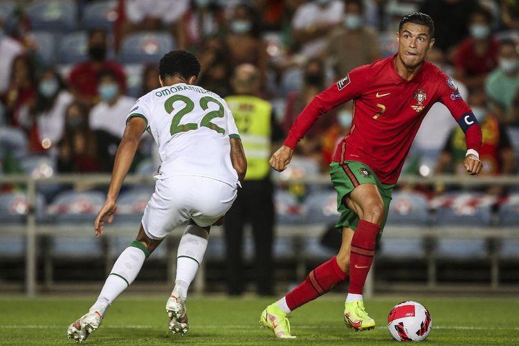 Cristiano Ronaldo dalam pertandingan Portugal vs Irlandia pada partai Kualifikasi Piala Dunia 2022 yang berlangsung di Stadion Algarve, Kamis (2/9/2021) dini hari WIB.