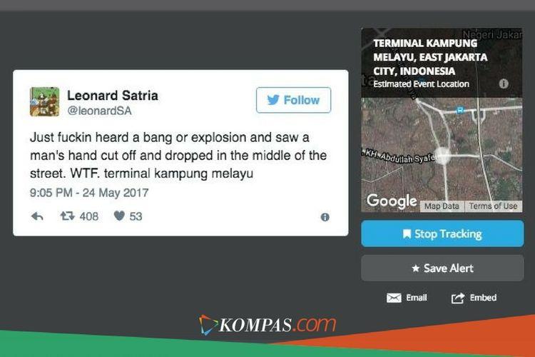 Twit Leonard Satria terkait bom Kampung Melayu, twit ini yang pertama kali memiliki pengaruh luas karena jangkauannya, 408 kali ditwit ulang dan 53 kali disukai.
