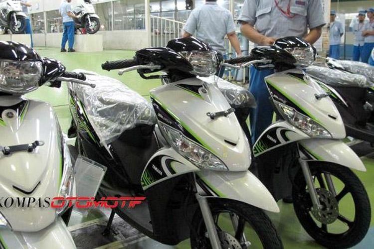 Produksi Yamaha Mio di pabrik Yamaha Karawang.