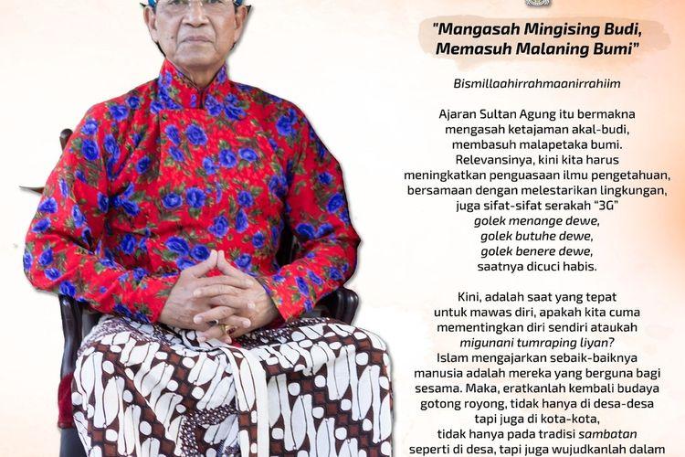 Gubernur DIY sekaligus Raja Keraton Ngayogyakarta Hadiningrat, Sri Sultan HB X menyapa warga melalui tulisan.