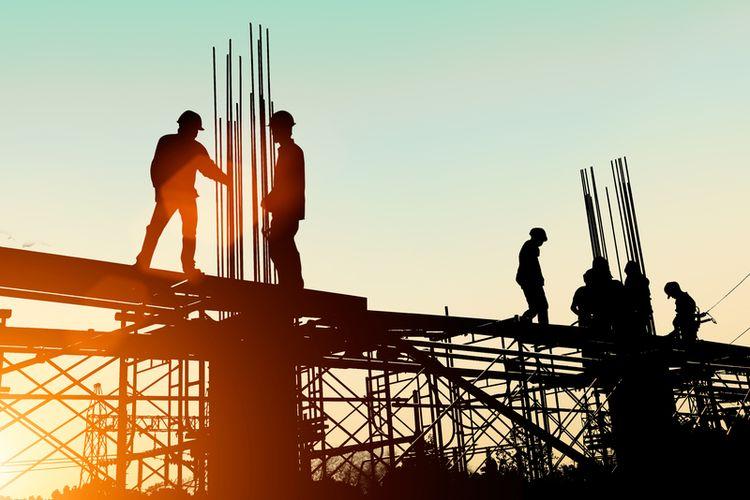 Ilustrasi pekerja bangunan, pekerja konstruksi.