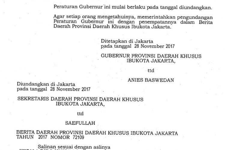 Pergub TGUPP yang direvisi oleh Gubernur DKI Jakarta Anies Baswedan.