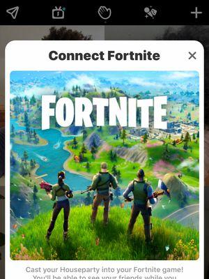 Ilustrasi tampilan untuk menghubungkan akun Houseparty ke Fortnite, beserta logo TV yang di tengahnya ada huruf F.