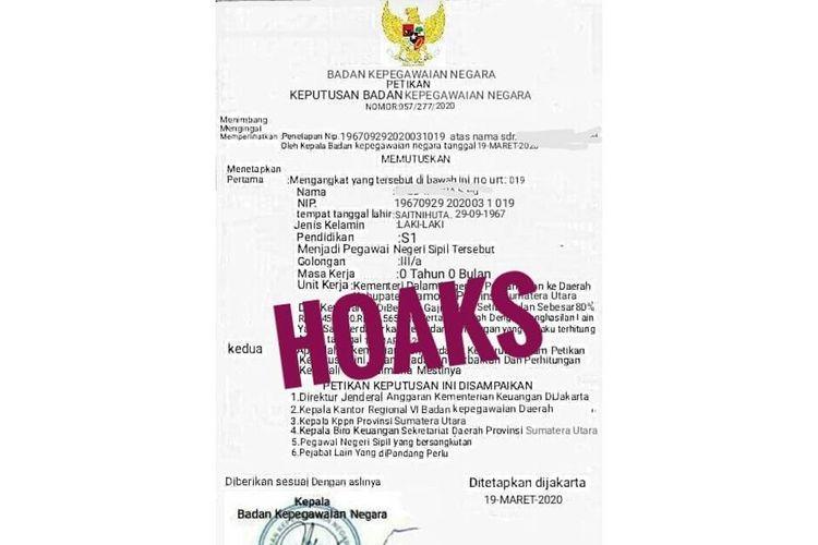Surat mengenai pengangkatan seseorang menjadi PNS yang dibantah keasliannya oleh BKN dengan menuliskan kata HOAKS