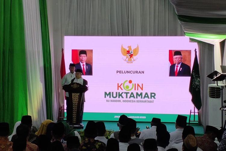Wakil Presiden RI Maruf Amin memberikan sambutan dalam peringatan Hari Lahir NU ke-94 di Kantor PBNU, Jakarta Pusat, Jumat (31/1/2020).