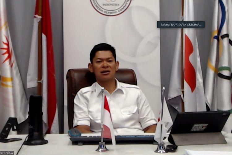 Raja Sapta Oktohari, Ketua Umum Komite Olimpiade Indonesia dan Ketua Umum PB ISSI, saat berbicara di webinar Sport Integrity National Conference pada Jumat (20/11/2020).