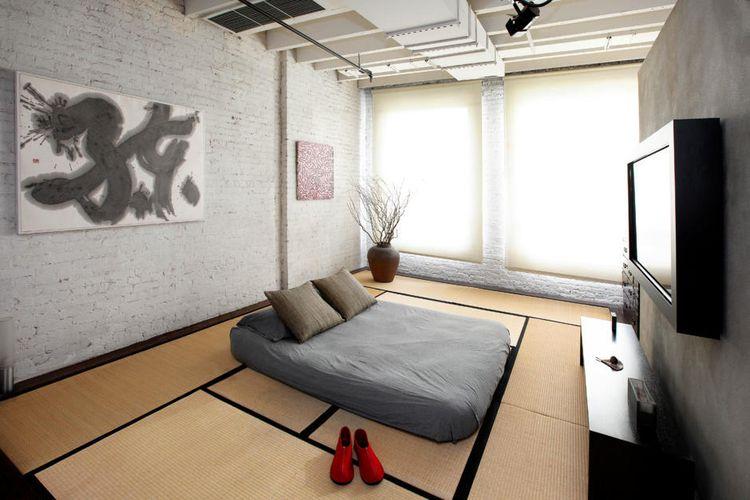 Kamar tidur ala Jepang yang super nyaman dengan kasur di lantai tatami