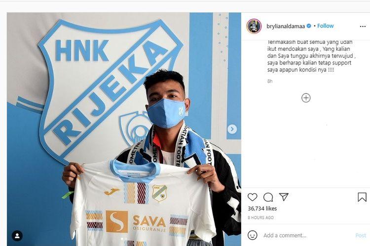 Brylian Aldama resmi diperkenalkan sebagai pemain anyar klub kasta teratas Liga Kroasia, HNK Rijeka.