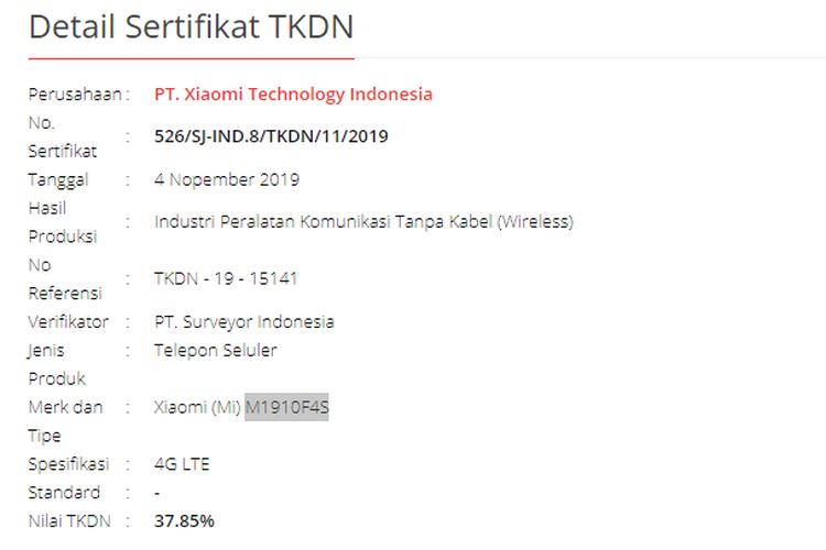 TKDN Mi Note 10