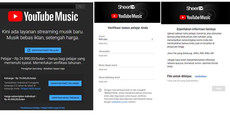 Cara berlangganan paket pelajar Youtube Music Premium.