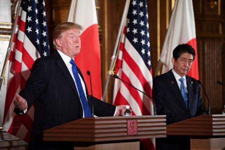Konferensi pers Presiden AS Donald Trump dan Perdana Menteri Jepang Shinzo Abe di Istana Akasaka, Senin. Trump menyatakan bahwa dunia sudah tidak bisa lagi mengajak negosiasi Korut
