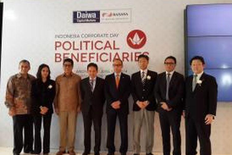 Para pembicara yang hadir pada Indonesia Corporate Day, di antaranya adalah Menteri Keuangan Chatib Basri, Deputi Gubernur Senior BI Mirza Adityaswara serta Direktur Utama BNI Gatot Suwondo