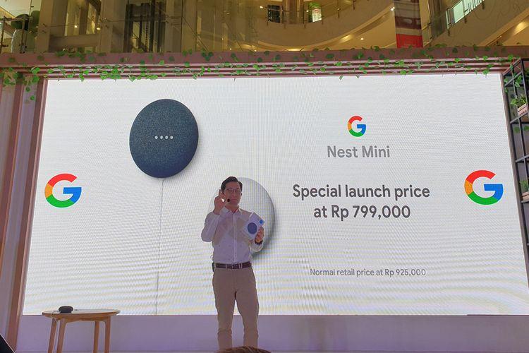 Mickey Kim, Director Asia Pacific Business Googlr Hardware, dalam acara peluncuran Nest Mini di Mal Central Park Jakarta Barat, Jumat (28/2/2020).