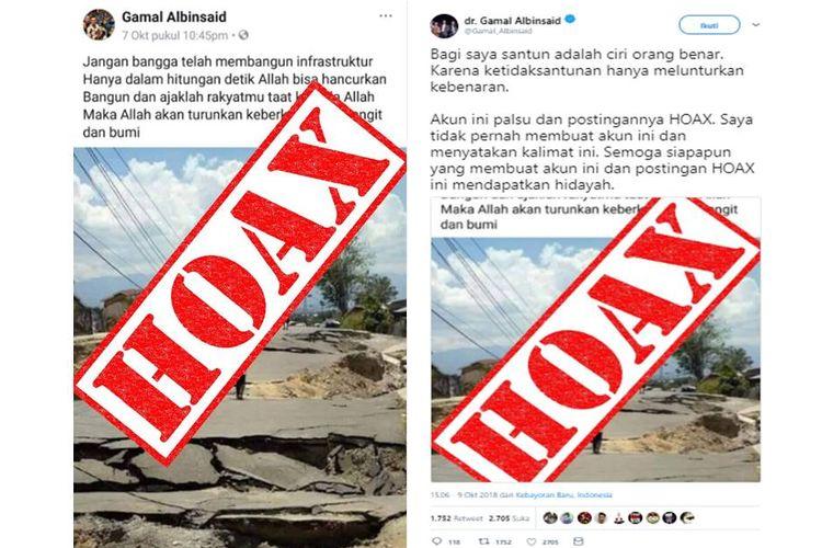 Unggahan akun palsu yang mengatasnamakan Gamal Albinsaid