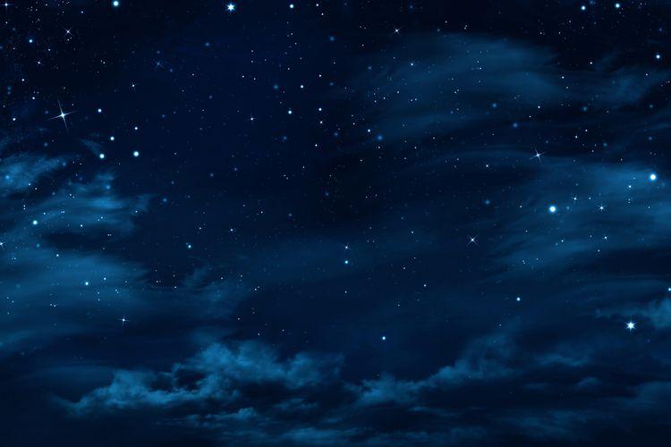 Ilustrasi langit malam dengan bintang berkelap-kelip.