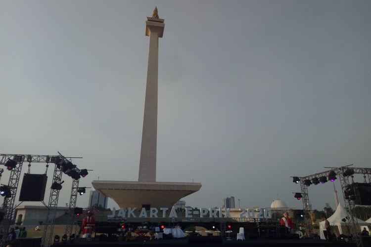 Acara pengumuman resmi Jakarta sebagai salah satu tuan rumah seri balap Formula E pada 2020, di kawasan Monas, Jumat (20/9/2019).