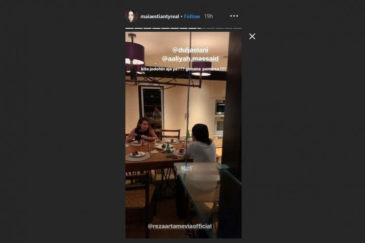 Dul Jaelani dan Aaliyah Massaid dalam Instagram Story Maia Estianty.