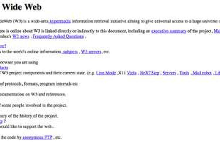 Tampilan situs yang dibuka pertama kali di dunia