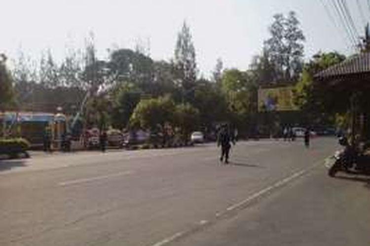 Lokasi ledakan bom di depan Polresta Solo.