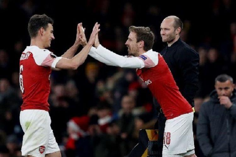 Nacho Monreal masuk menggantikan Laurent Koscielny pada laga Arsenal vs Qarabag dalam pertandingan pamungkas Liga Europa, 13 Desember 2018.