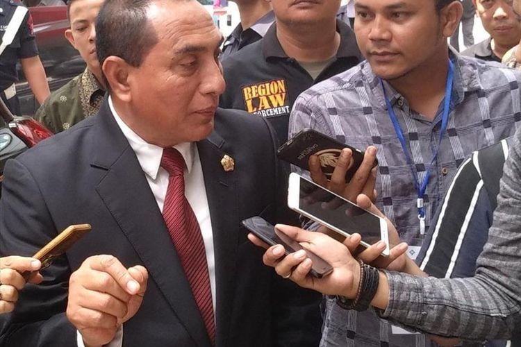 Gubernur Sumut Edy Rahmayadi saat dimintai komentarnya soal pidato kemenangan Presiden Jokowi usai menghadiri Wisuda ke XXI Poltekpar Medan, Kamis (18/7/2019)