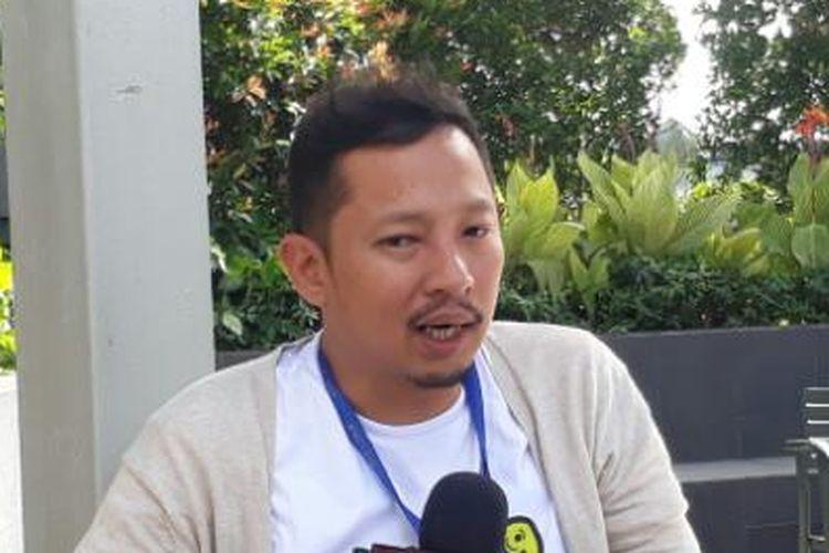 Ringgo Agus Rahman diabadikan seusai jumpa pers di MNC Financial Tower, Kebon Sirih, Jakarta, Kamis (6/4/2017).