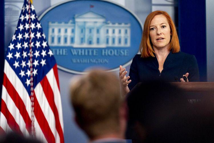 Sekretaris Pers Gedung Putih Jen Psaki berbicara pada konferensi pers di Gedung Putih di Washington, Jumat, 23 Juli 2021.