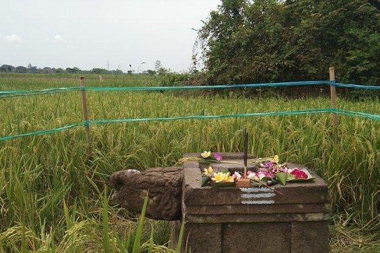 Penampakan Yoni berkepala kura-kura yang dilewati proyek Tol Yogyakarta-Solo di Desa Keprabon, Kecamatan Polanharjo, Kabupaten Klaten, Minggu (26/9/2021).