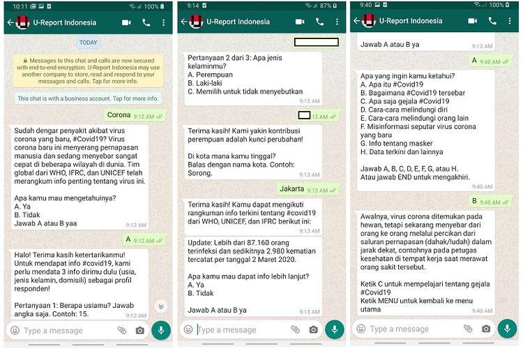 Tangkapan layar informasi tentag corona yang diberikan U-Report, bekerja sama dengan UNICEF, WHO, dan Federasi Internasional palang Merah melalui WhatsApp.