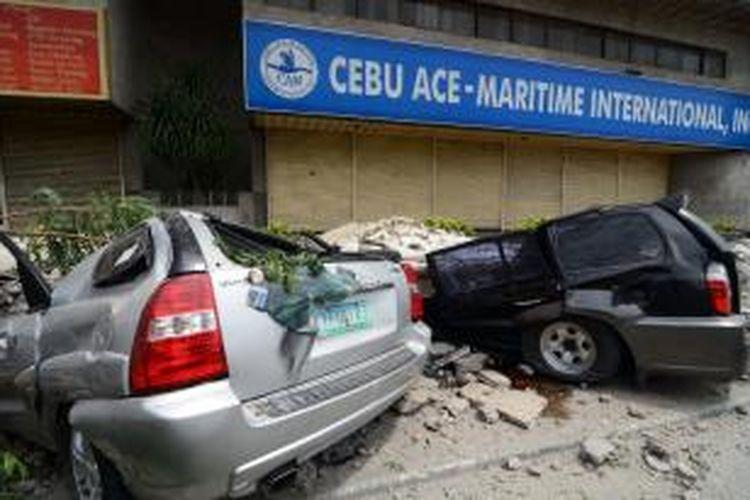 Gempa kuat yang mengguncang wilayah tengah Filipina menghancurkan banyak bangunan di sejumlah kota, salah satunya di kota Cebu. Sejauh ini gempa sudah mengakibatkan 73 orang meninggal dunia,