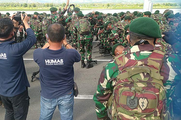 150 personel TNI terbaik tiba di Palu, Sabtu (15/8/2020), untuk bergabung dengan pasukan Operasi Tinombala dalam upaya menumpas sisa-sisa kelompok Mujahidin Indonesia Timur.