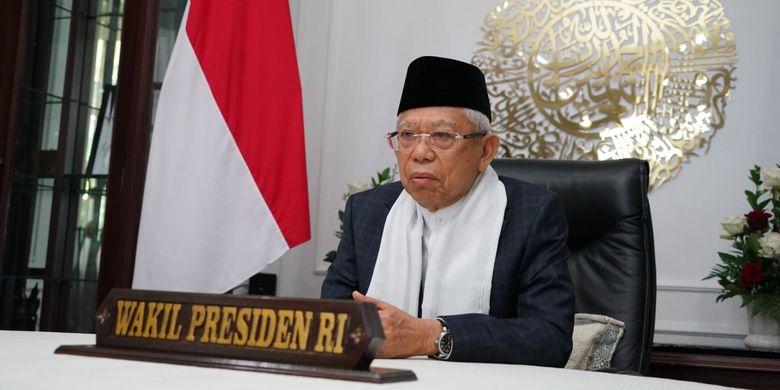 Wakil Presiden Ma'ruf Amin saat menghadiri  milad Majelis Ulama Indonesia (MUI) ke-46 yang digelar secara daring, Senin (26/7/2021).