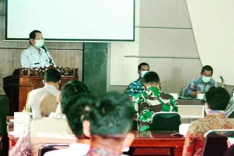 Bupati Semarang Mundjirin saat paparan mengenai persiapan pembangunan Bendungan Jragung.