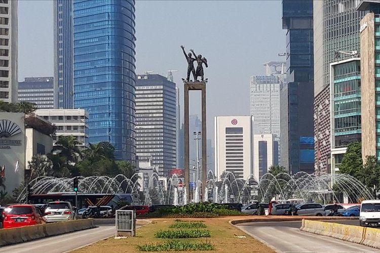 Tugu Selamat Datang di Bundaran Hotel Indonesia (HI), Jakarta Pusat. Foto diambil pada 18 Juli 2019.