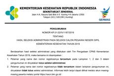 Hasil Seleksi Administrasi CPNS Kementerian Kesehatan, Ini Informasi Lengkapnya