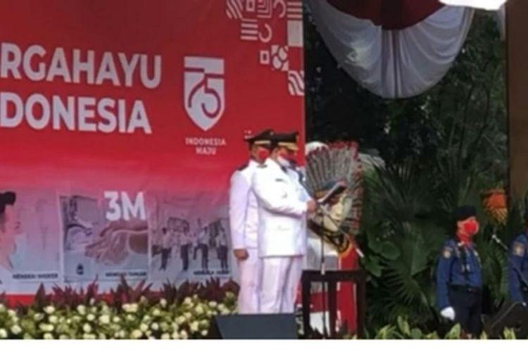 Upacara Hut Ke-75 di Balai Kota, Jakarta Pusat, Senin (17/8/2020).
