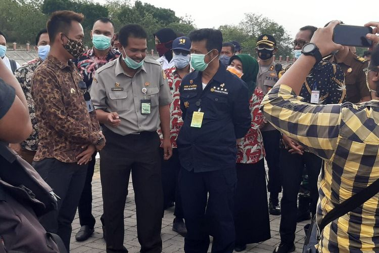 Menteri Pertanian (Mentan), Syahrul Yasin Limpo (SYL) meninjau Embung Giriroto Dusun Gumukrejo, Desa Giriroto, Kecamatan Ngemplak, Boyolali, Jawa Tengah, Kamis (15/10/2020).