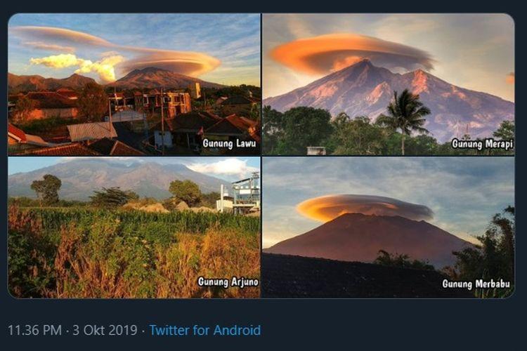 Foto  empat gunung, yakni Gunung Merapi, Gunung Merbabu, Gunung Lawu, dan Gunung Arjuno.
